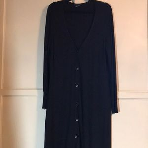 Long, black cardigan sweater by H by Halston.